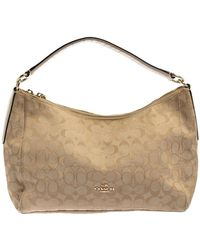 COACH Beige Signature Canvas And Leather East West Celeste Hobo - Natural