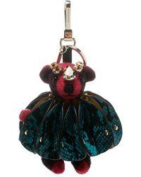 Burberry Thomas Bear Pink Concertina Ruffle Embellished Key Ring / Bag Charm