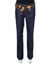 Roberto Cavalli Indigo Denim & Silk Waist Trim Straight Leg Jeans - Blue