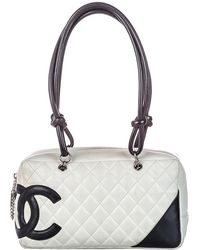 Chanel White/black Quilted Leather Cambon Ligne Bowler Bag