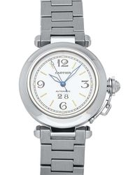 Cartier White Stainless Steel Pasha C W31044m7 Women's Wristwatch 35 Mm