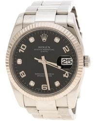 Rolex - Black Stainless Steel Oyster Perpetual Date 115234 Women's Wristwatch 34 Mm - Lyst