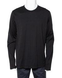 Dolce & Gabbana Black Cotton Long Sleeve Crewneck T-shirt