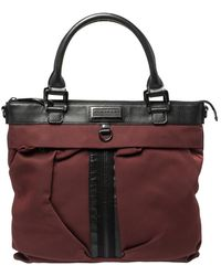 Burberry Burgundy/black Nylon And Leather Tote - Multicolour