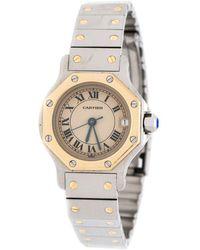 Cartier Cream 18k Yellow Gold Stainless Steel Santos De 187903 Women's Wristwatch 24 Mm - Metallic