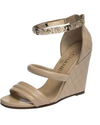 Chanel Beige Quilted Leather Charm Embellished Ankle Cuff Wedge Sandals Size 36 - Natural