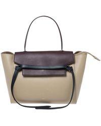 Céline Beige/burgundy Leather Nano Belt Bag - Natural