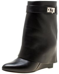 Givenchy - Black Leather Shark Lock Wedge Ankle Boots Size 36.5 - Lyst
