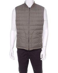 Brunello Cucinelli Bicolor Linen Wool Checked Sleeveless Reversible Puffer Jacket/vest L - Purple
