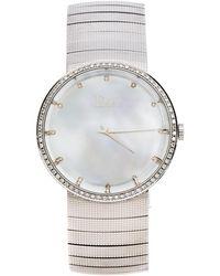 Dior Silver Stainless Steel Diamonds La D De Cd043111 Women's Wristwatch 38 Mm - Metallic