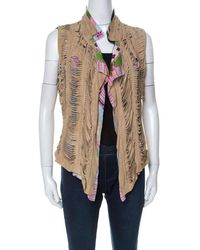 Roberto Cavalli Multicolor Printed Silk And Beige Suede Overlay Sleeveless Vest - Natural