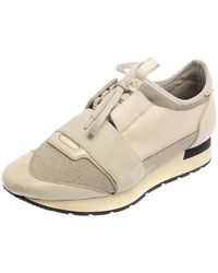 Balenciaga Cream/grey Leather And Fabric Race Runner Trainer - Natural