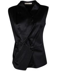 Balenciaga Black Satin Sleeveless Asymmetric Vest