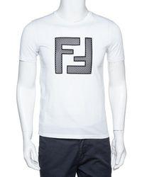 Fendi White Light Jersey Mesh Logo Applique T-shirt