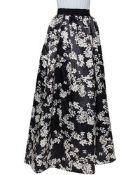 Alice + Olivia Black Floral Printed Satin Tina Maxi Skirt