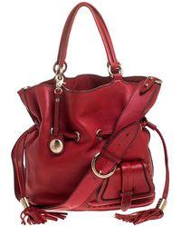 Lancel Red Leather Premiere Flirt Bucket Shoulder Bag