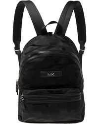 Michael Kors Black Camouflage Nylon And Leather Kent Backpack