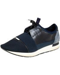 Balenciaga Multicolor Mesh Leather And Suede Race Runner Sneaker - Blue