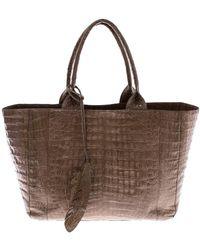 Nancy Gonzalez Beige Crocodile Leather Shopper Tote - Natural