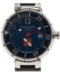 Louis Vuitton Tambour Diving Ii Xl Automatic Chronograph Stainless Steel Black Rubber Mens Watch