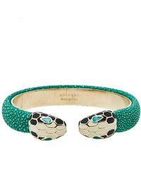 BVLGARI Serpenti Forever Green Galuchat Leather Gold Plated Open Cuff Bracelet
