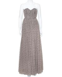 Alice + Olivia Taupe Embellished Tulle Strapless Evening Gown - Brown