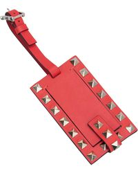 Valentino Red Rockstud Leather Luggage Tag