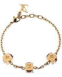 Louis Vuitton Gamble Crystal Gold Tone Bracelet - Metallic