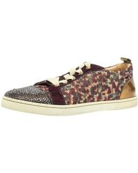 Christian Louboutin Multicolour Lurex And Suede Gandolastrass Low Top Trainers - Brown