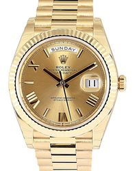 Rolex Champagne 18k Yellow Gold Day-date Wristwatch 40 Mm - Metallic