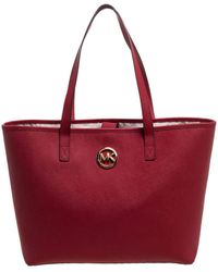 MICHAEL Michael Kors - Red Leather Jet Set Travel Tote - Lyst