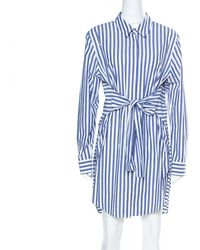 Alexander Wang Blue & White Striped Cotton Tie Front Short Dress S