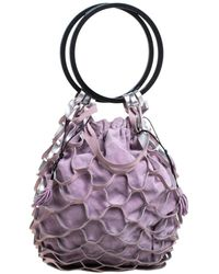 Ferragamo Lavender Caged Leather And Suede Ring Handle Bag - Purple