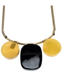Marni Multicolour Horn And Resin Pendant Gold Tone Choker Necklace - Metallic