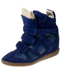 Isabel Marant Blue Suede And Leather Trim Bekett Wedge Sneakers