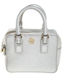 Tory Burch Metallic Gray Leather Micro Satchel