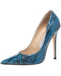 Jimmy Choo Blue/black Python Anouk Court Shoes