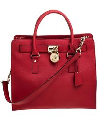 MICHAEL Michael Kors - Red Saffiano Leather Large Hamilton North South Tote - Lyst