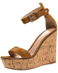 Gianvito Rossi Brown Suede Leather Cork Wedge Platform Ankle Strap Sandals