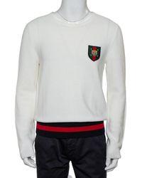 Gucci White Cotton Knit Tiger Crest Applique Sweater