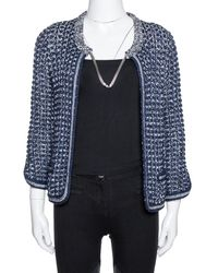 Chanel Navy Blue Crochet Knit Neck Chain Detail Jacket