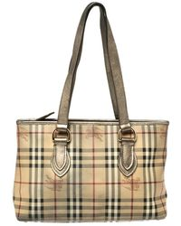 Burberry Beige/metallic Haymarket Check Coated Canvas And Leather Regent Tote - Natural