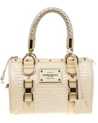 Versace Off White Quilted Patent Leather