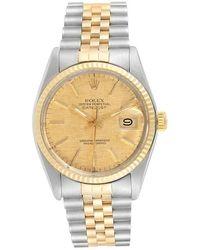 Rolex Champagne Diamonds 18k Yellow Gold Stainless Steel Datejust 16013 Men's Wristwatch 36 Mm - Metallic