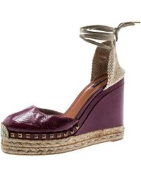 Marc Jacobs Burgundy Patent Leather Wedge Espadrille Platform Sandals Size 38
