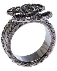 Chanel Cc Black Enamel Textured Silver Tone Ring Size 54.5