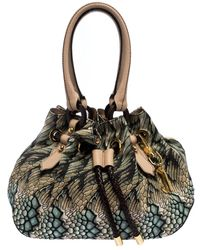Roberto Cavalli Multicolor Printed Canvas And Leather Drawstring Bag