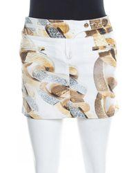 Roberto Cavalli White Denim Gold Chain Print Mini Skirt