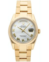 Rolex White 18k Yellow Gold Day-date 118208 Wristwatch 36 Mm