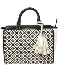 Tory Burch Black/white Woven Leather Robinson Tote